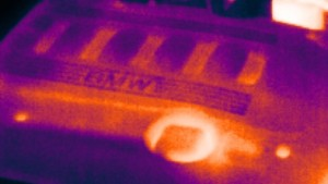 On the engine, the highest temperatures can be seen where the oil is, using a thermal imaging camera in the workshop